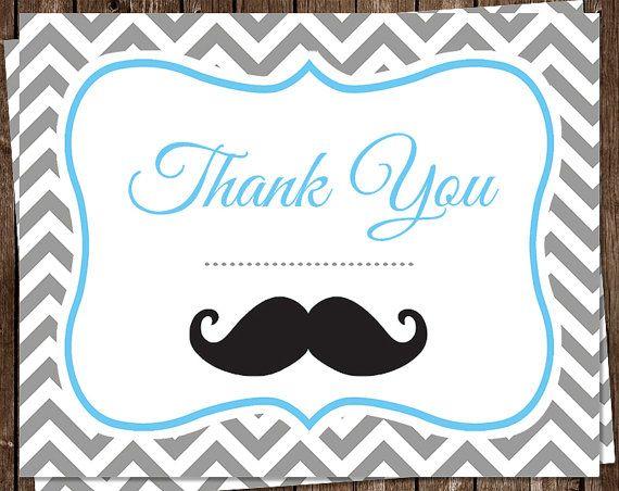 Mustache Thank You Cards Baby Shower Birthday By Theinviteladyshop