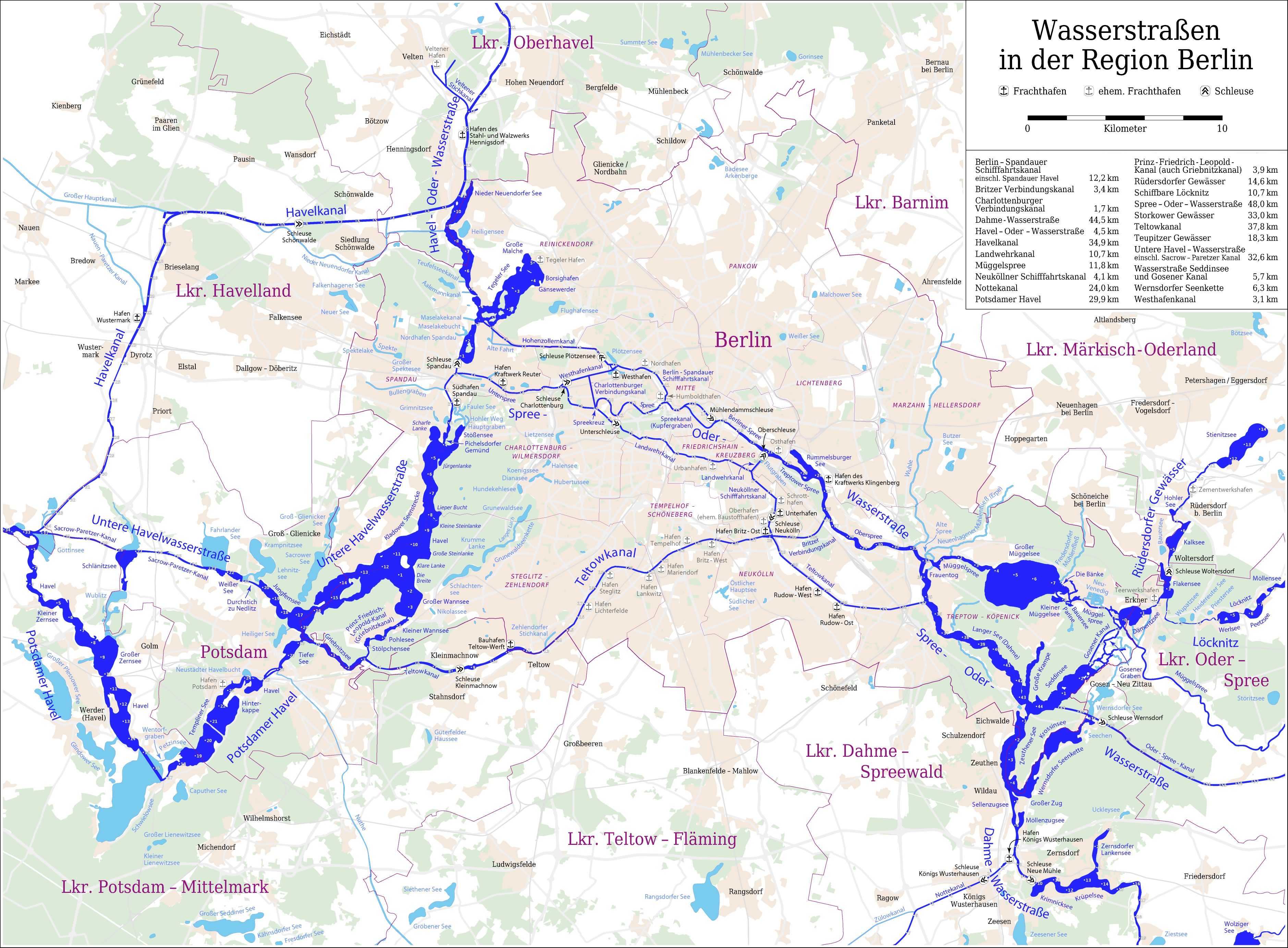 Map of canals and waterways in Berlin