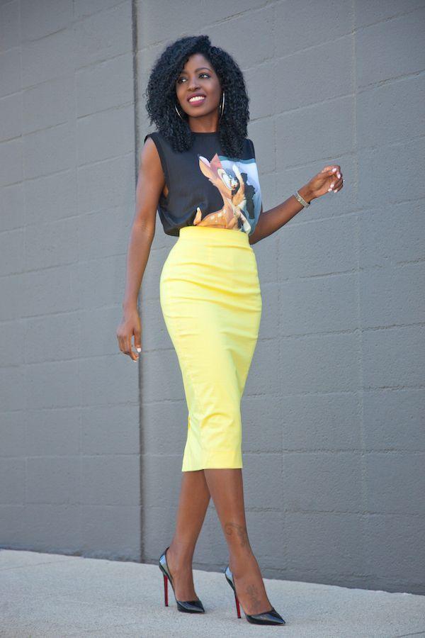 Bambi Print Tee + Yellow Pencil Skirt
