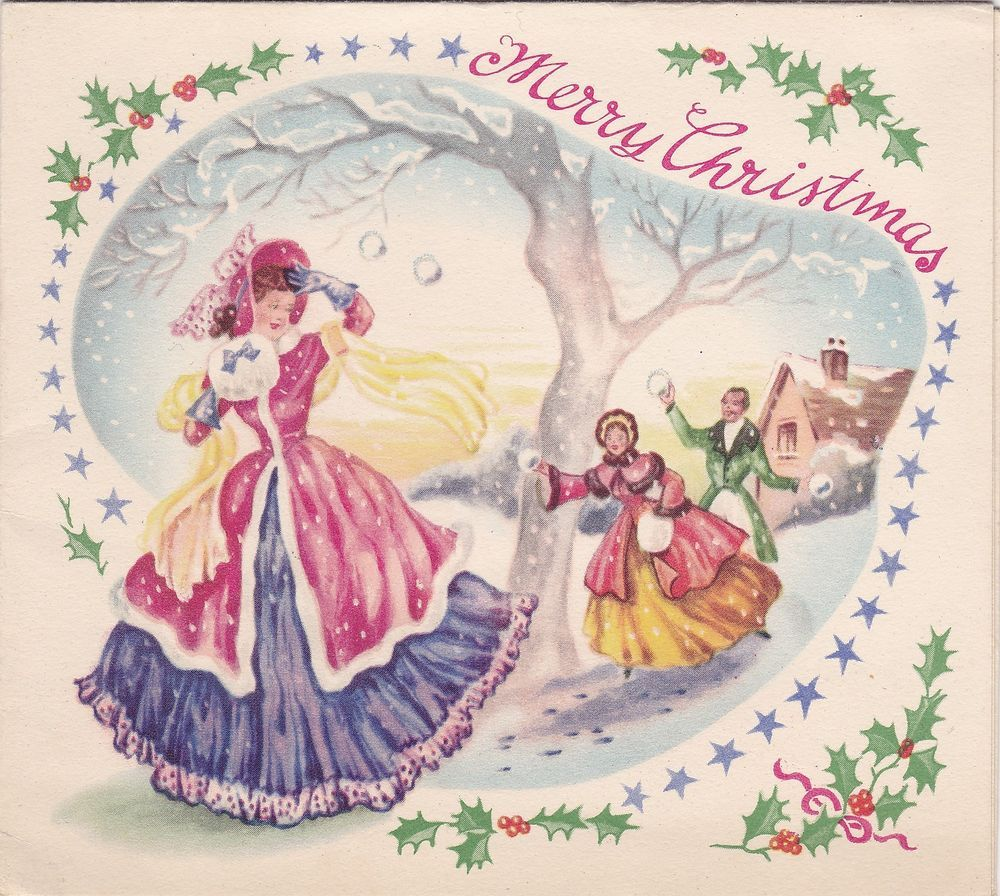 Beautiful Vintage Christmas Card - Crinoline Lady - Snowball Fight - c1950s