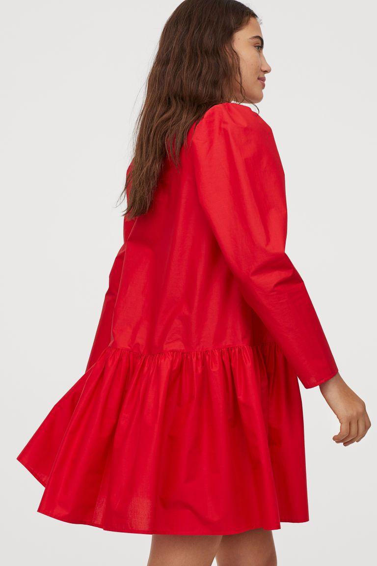 kleid aus baumwollpopeline - rot - ladies | h&m de | kleider