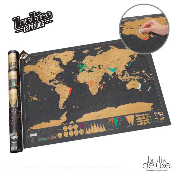weltkarte scratch Luckies Scratch Map Deluxe XL Scratchmap NEU & OVP Rubbel Karte  weltkarte scratch