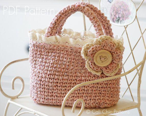 Crochet Pattern 219  Summer Tweed Mini Tote  by CaliChicPatterns