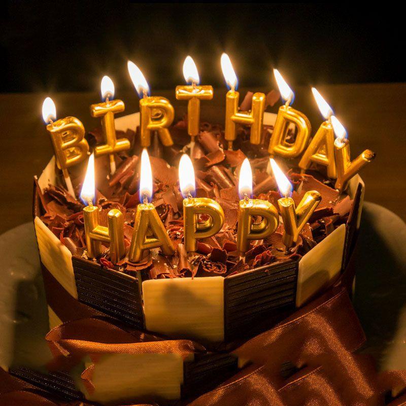 Newest 13pcs Gold letter HAPPY BIRTHDAY Kid\u0027s Birthday candles Cake