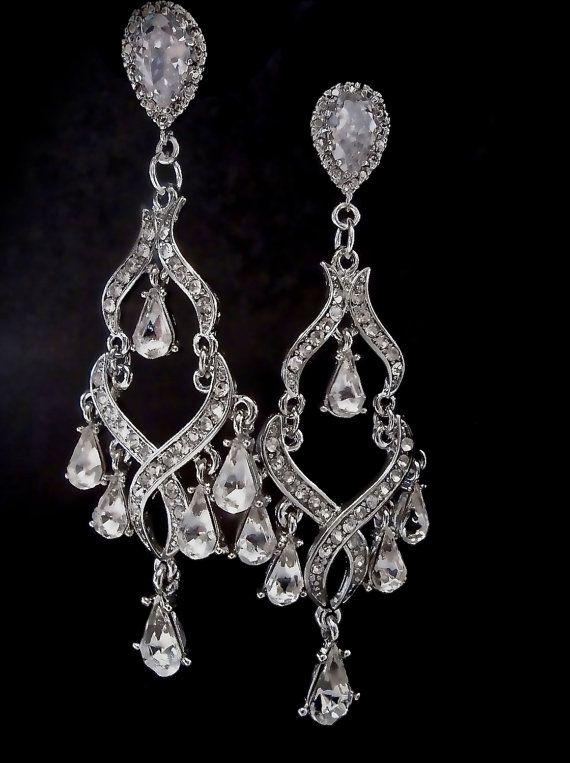 Chandelier Earrings Gorgeous Long Silver Rhinestone