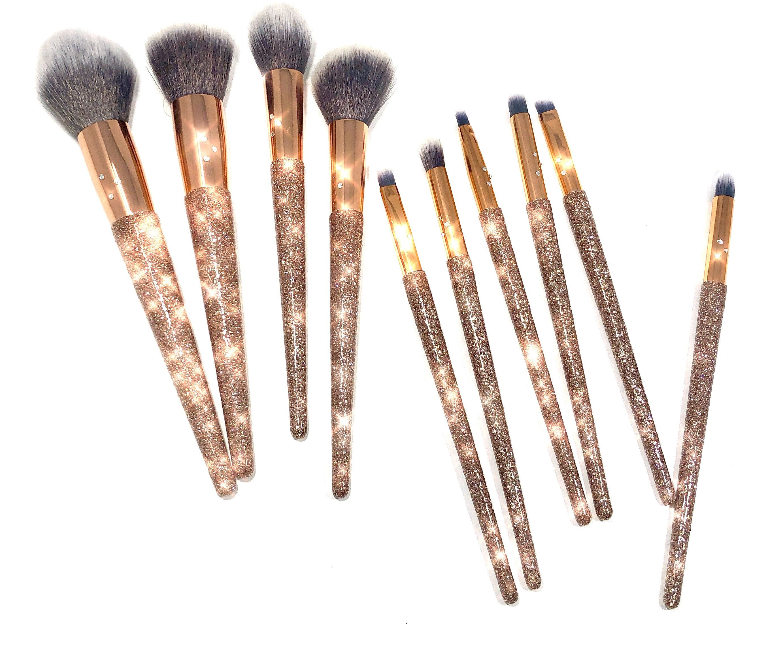 Glitter Swarovski Crystal Makeup Brush Set of 10 Rose Gold