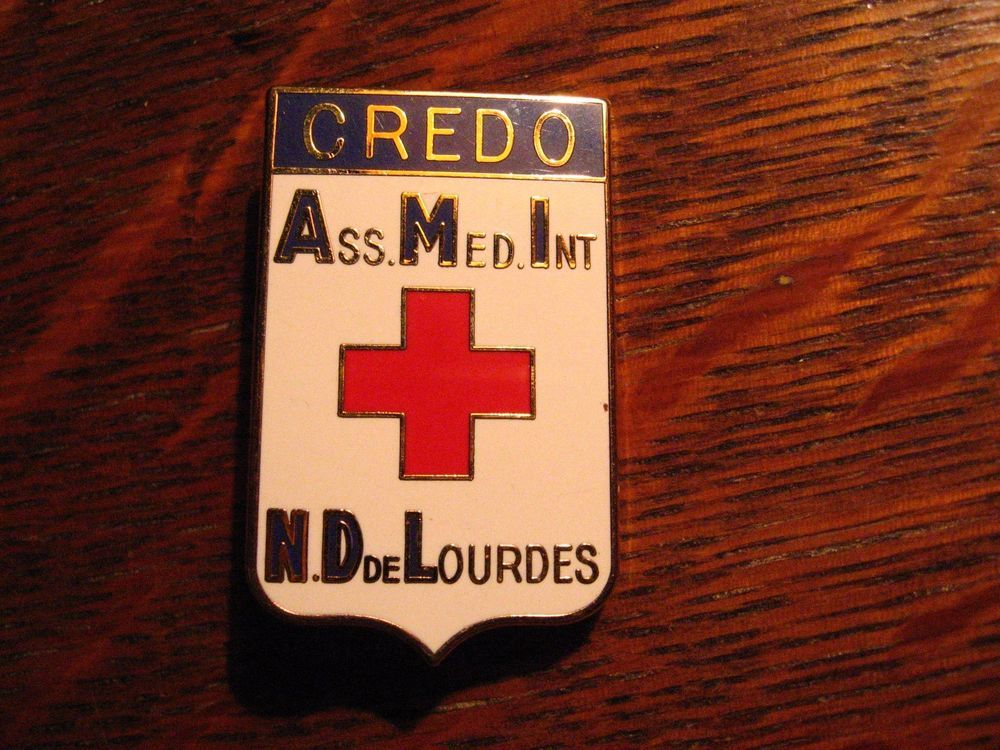 Notre Dame De Lourdes Lapel Pin   Paris France French Medical Credo Europe  Badge