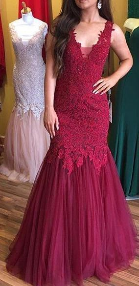 Mermaid Long Tulle Prom Dress With Applique and Beading School Dance Dress CR 1725 #schooldancedresses