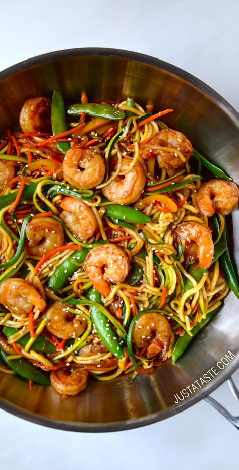 Asian zucchini noodle stir fry with shrimp recipe on http take on the takeout with a quick and healthy asian zucchini noodles recipe starring fresh veggies garlicky sauce and sauted shrimp forumfinder