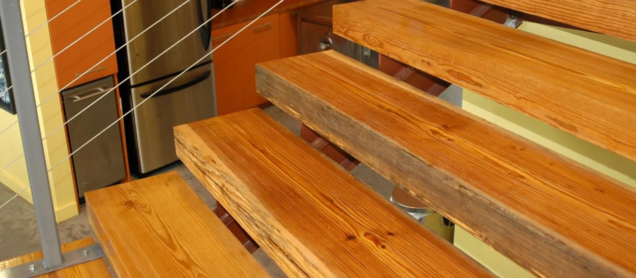 Best Reclaimed Antique Heart Pine Custom Stair Treads Stair 400 x 300