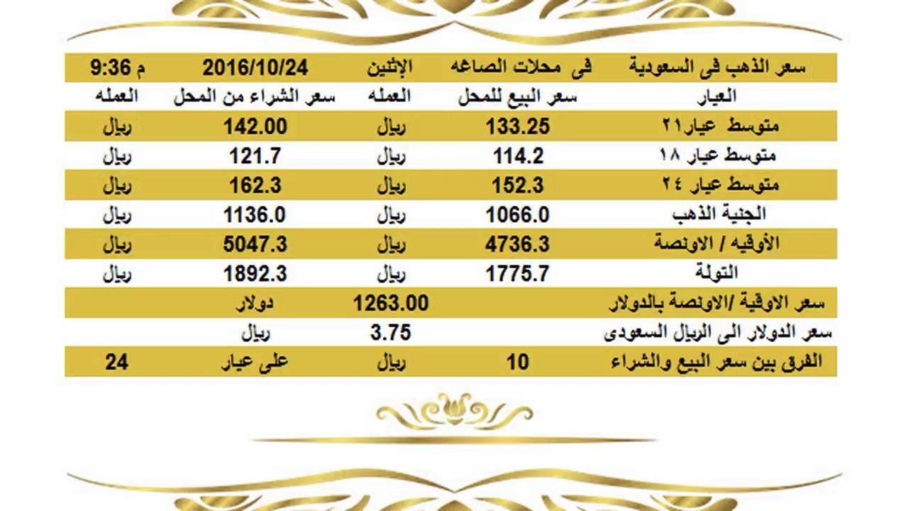 برجاء كومنت او لايك أو شير ليصلكم منا تحديث الاسعار لحظيا سعر الذهب فى السعودية فى محلات الصاغه الاثني Gold 10 Things 25th