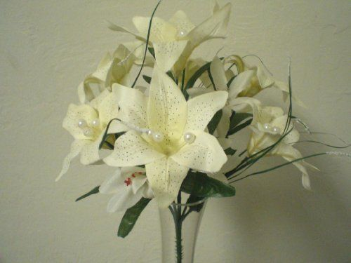 4 cream mini tiger lily silk flower bushes wpearls artificial by 4 cream mini tiger lily silk flower bushes wpearls artificial by phoenix silk mightylinksfo