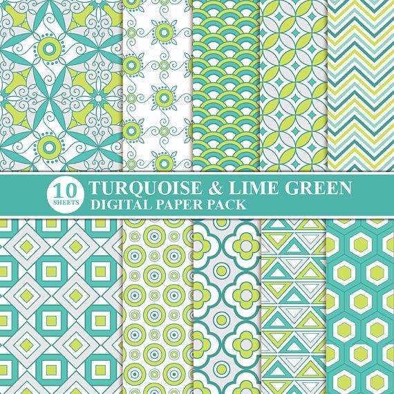 Turquoise Lime Green Digital Scrapbook Paper Digital Paper