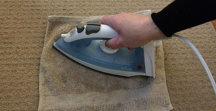 Use An Iron To Remove Carpet Stains Mix One Part Vinegar With Two Parts Water In A Spray Bottle And Spra Stain Remover Carpet How To Clean Carpet Carpet Stains