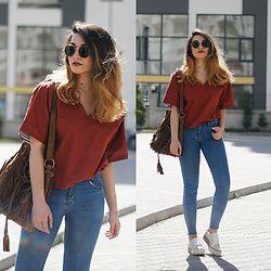 Melike Gül - Romwe Shirt, Zerouv Sunglasses, Jeans, Sneakers, Bag -  Terracotta 2e96a238b55c