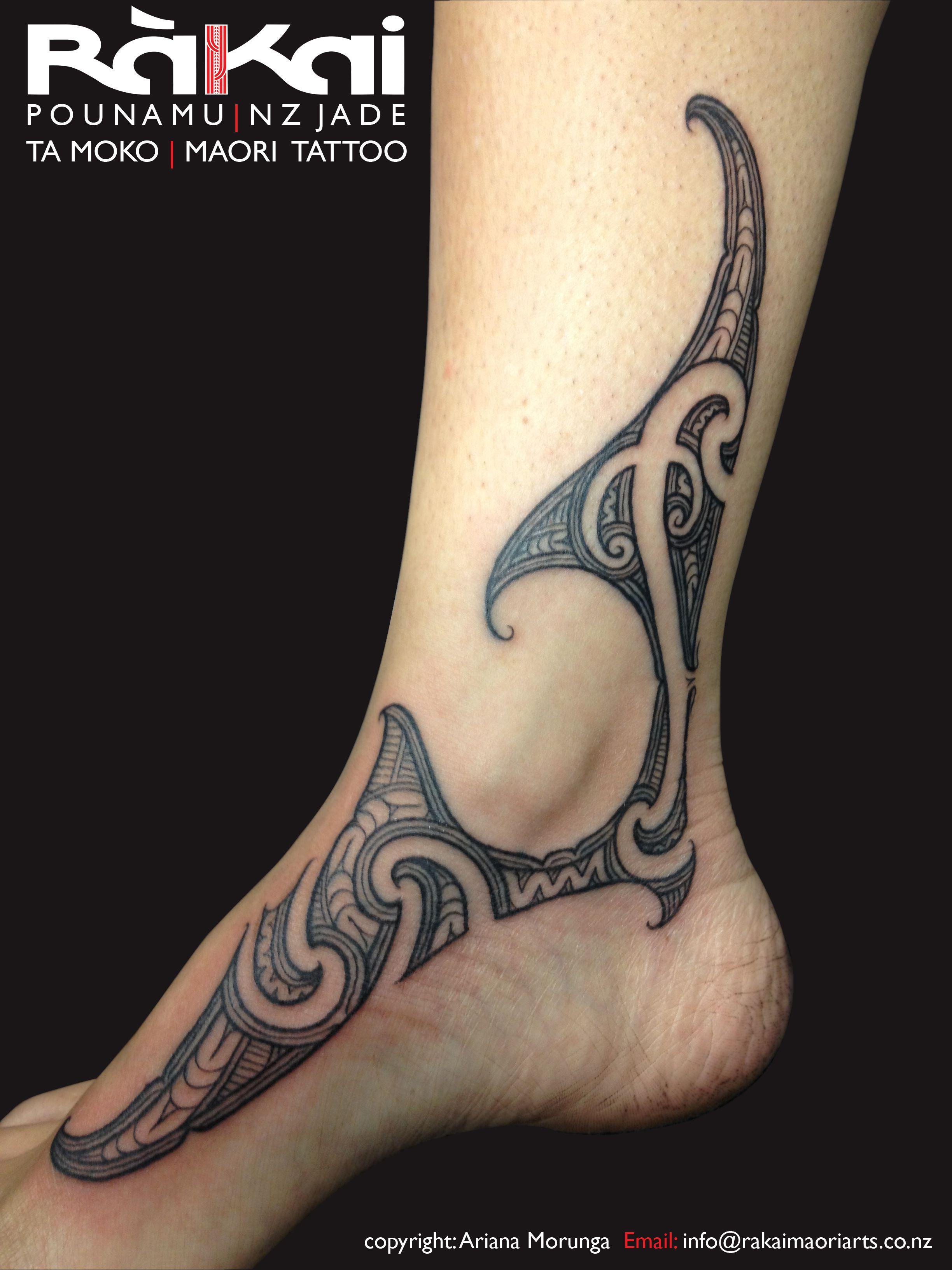 Maori Tattoo Ankle: Ariana Morunga - Rakai
