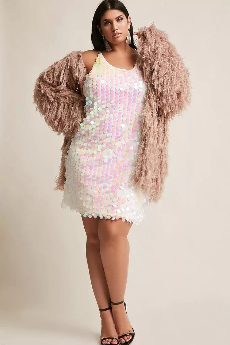 2b973797d43 Plus Size Oversized Iridescent Sequin Dress