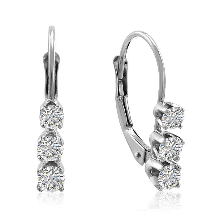 6c56e42c9f76c1 AGS Certified 1/2ct TW Diamond Lever Back Earrings in 14K Gold Review