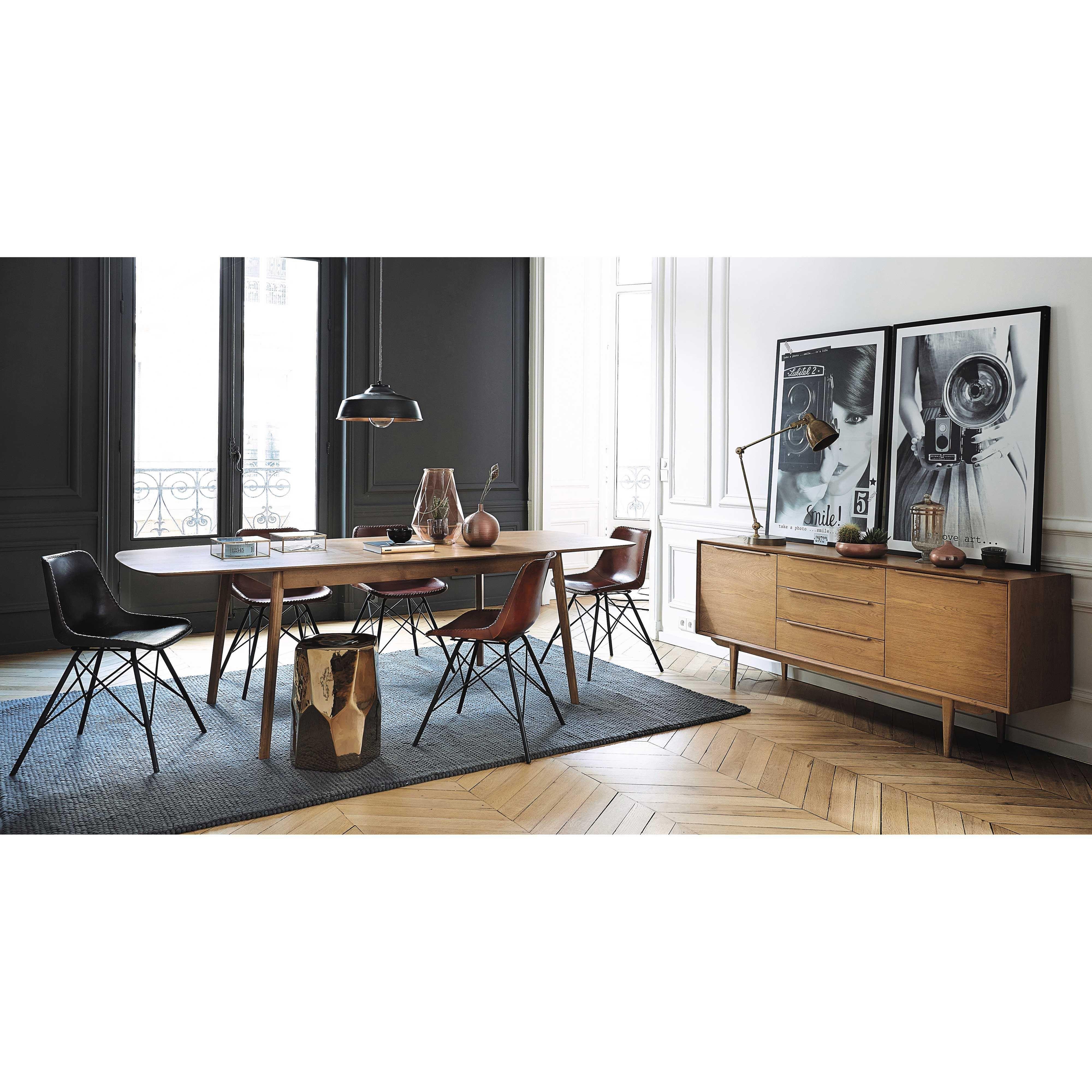 Massief Eikenhouten Vintage Lang Dressoir Chaises En Cuir M Tal  # Armoire Scandinave Maison Du Monde