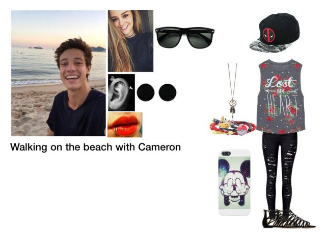 """Walking on the beach with Cameron"" by brookie5sos ❤ liked on Polyvore featuring Grayson, AeraVida, Ray-Ban and Jimmy Choo"