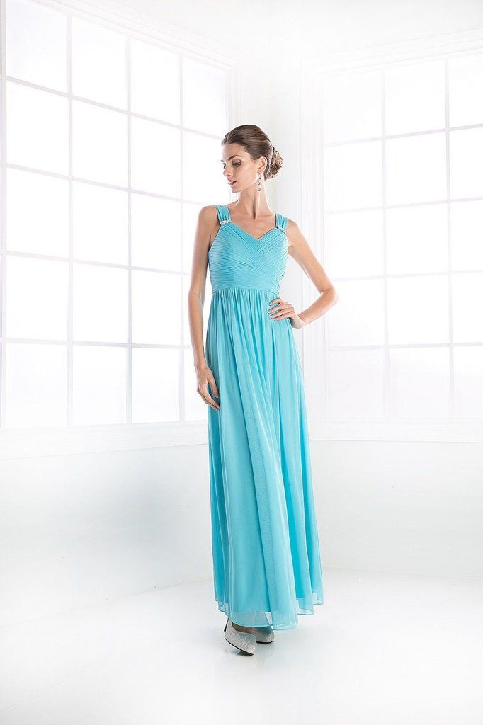 Long Formal Chiffon Bridesmaid Dress Prom Pleated - The Dress Outlet - 1