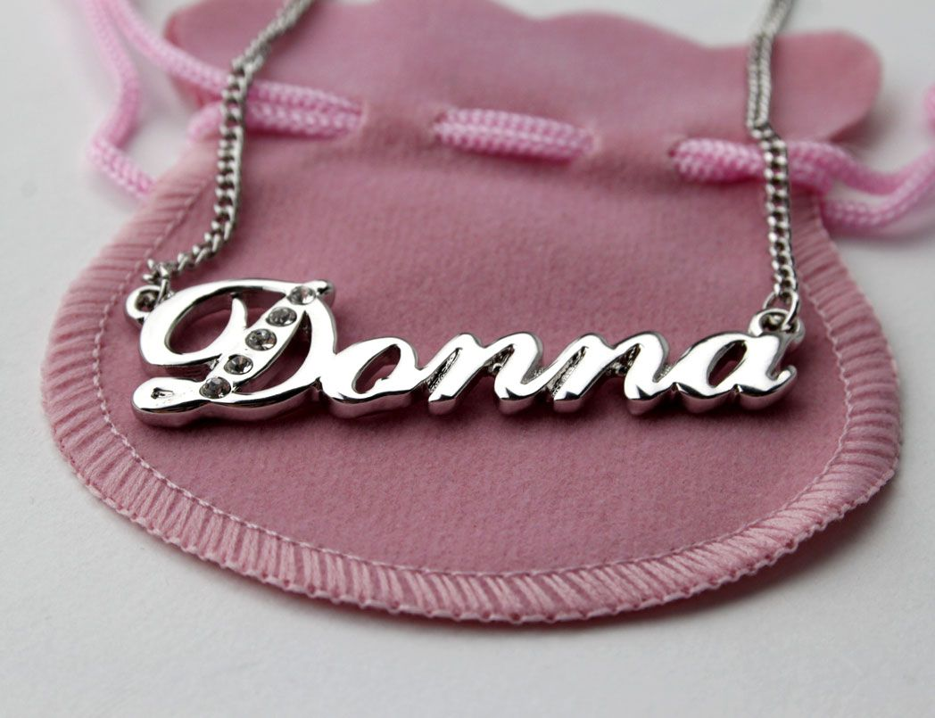 DONNA Swarovski Name Necklace 18ct Gold Plated Personalised