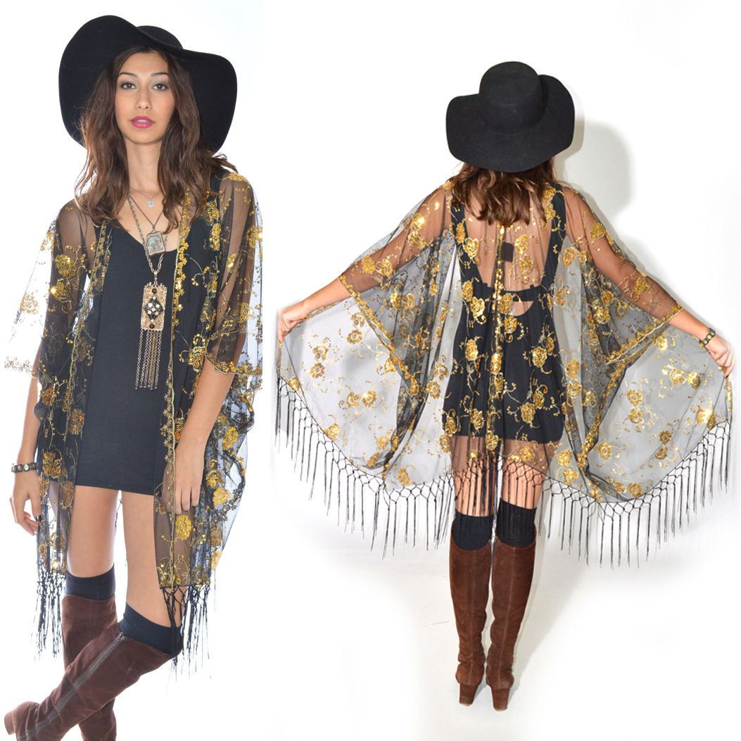 Sheer Lace Sequins Fringe Cocktail Party Kimono Jacket GOLD ...