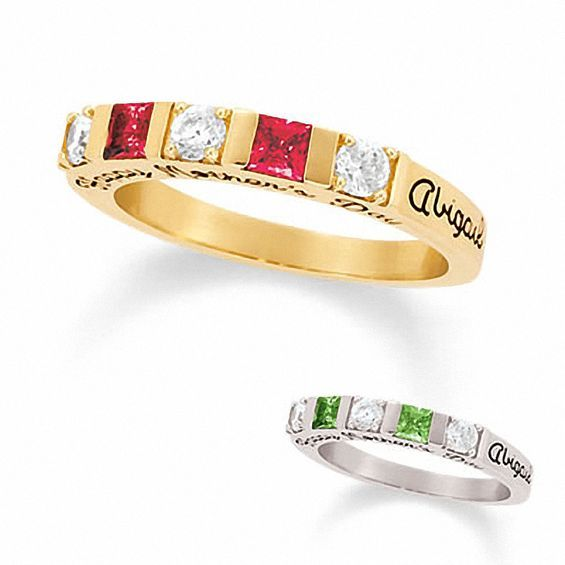 328e5887bb138 Ladies' Simulated Birthstone Stackable Ring in 10K White or Yellow ...