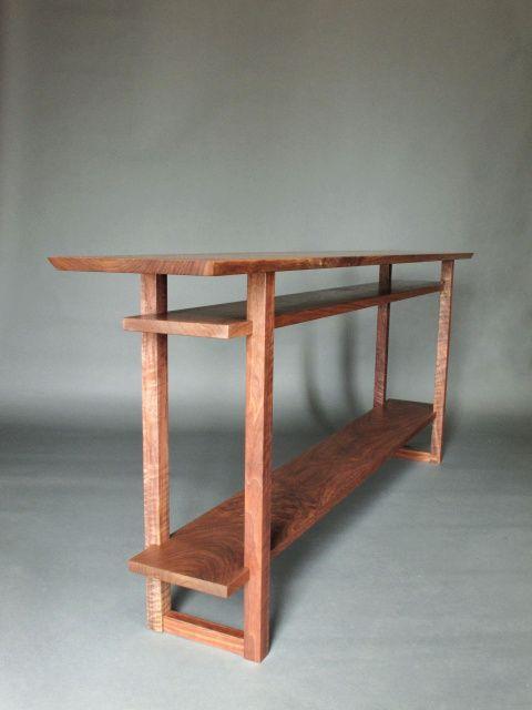 A long narrow console table with 2 shelves- handmade modern ...