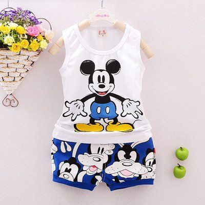 Outfits /& Sets Kids Boys Sleeveless Mickey Mouse T-shirt+Shorts Cartoon Clothes