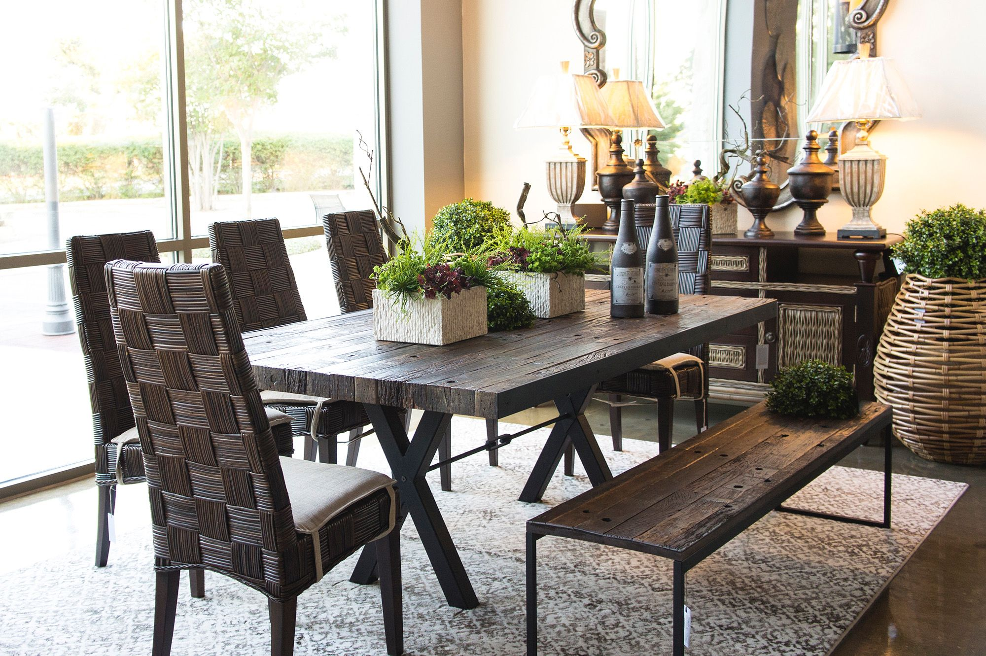 High Voltage Dining Table Made With Reclaimed Wood And Metal Base