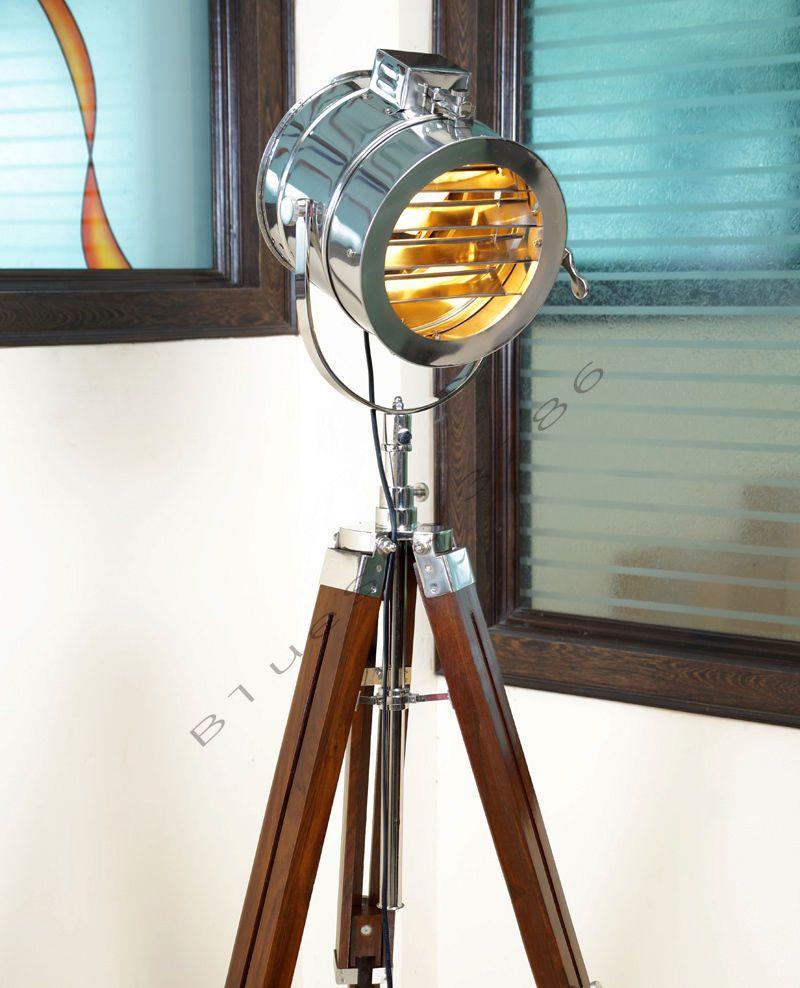 Vintage Marine Floor Lamp Nautical Spot Studio Tripod