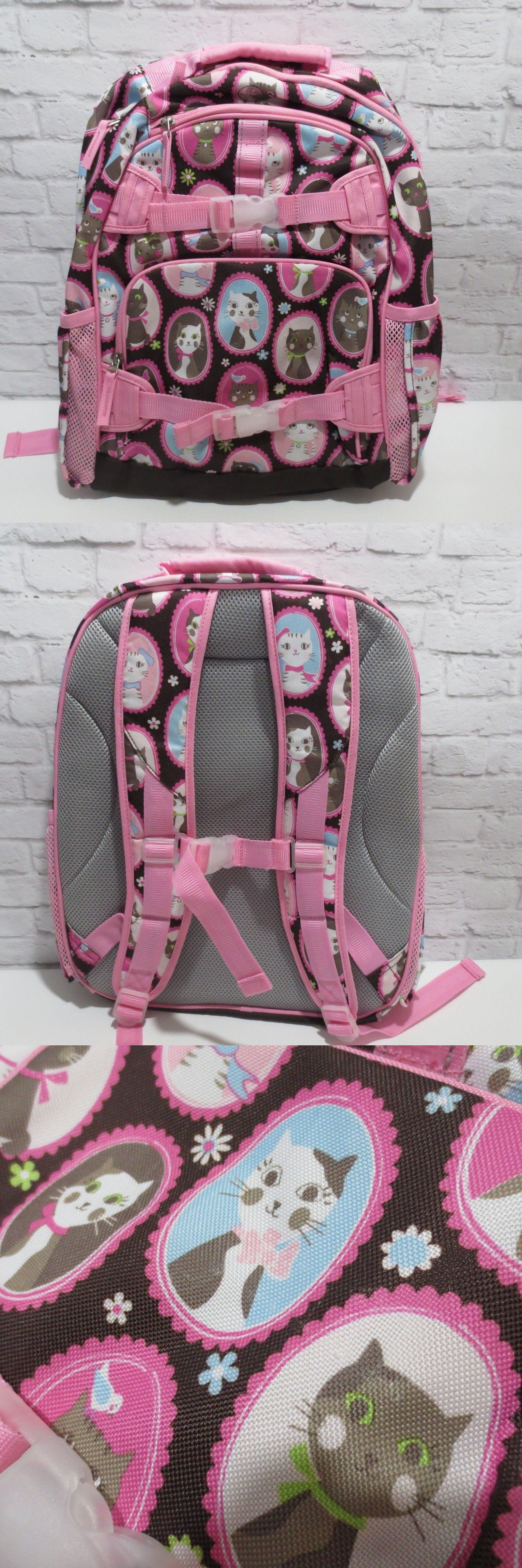 Backpacks 57917: Pottery Barn Kids Large Glam Kitty Cat Backpack Girls Chocolate And Pink And Blue -> BUY IT NOW ONLY: $39.99 on eBay!