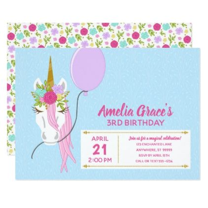 Kimbellished Unicorn Birthday Invitation Layout 1 Floral