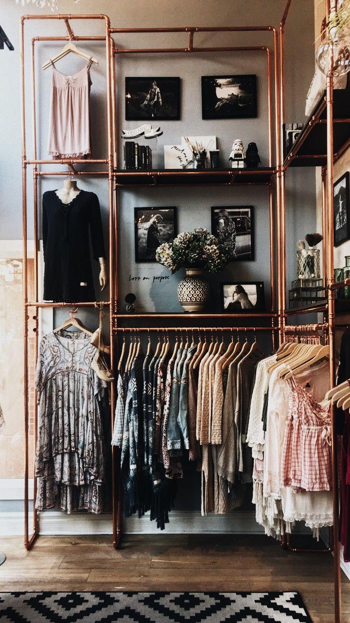 Loft bedroom with walk in wardrobe  Dressing en tubes de cuivre  Idées déco  Pinterest  Vintage decor