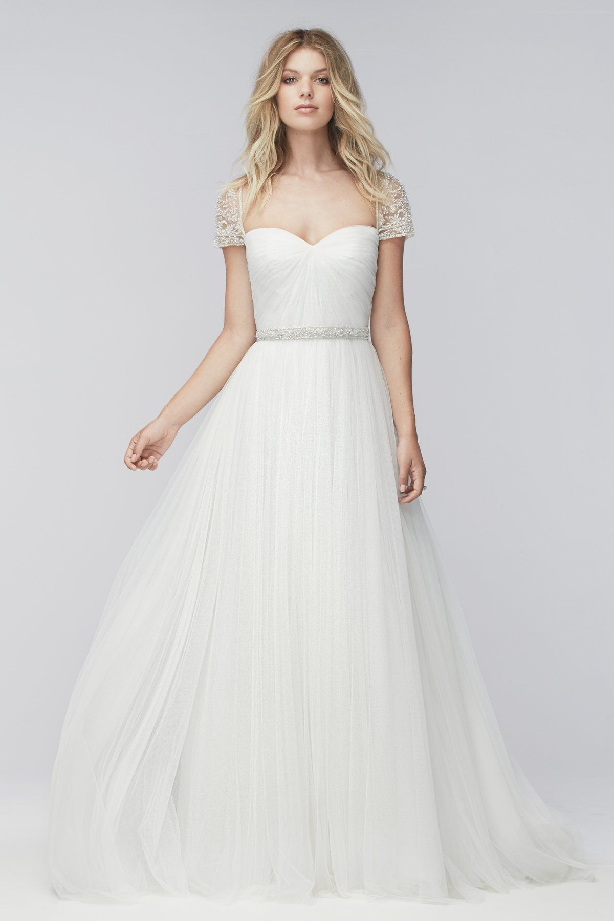 Reed soft tulle dress with beaded illusion tulle sleeves open