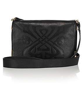 Biba Gretal Embossed Leather Logo Shoulder Bag