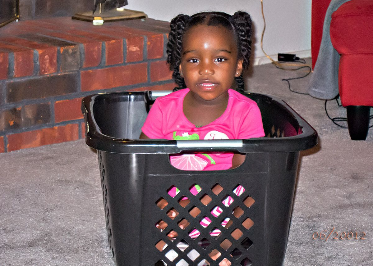 Niece in a basket!