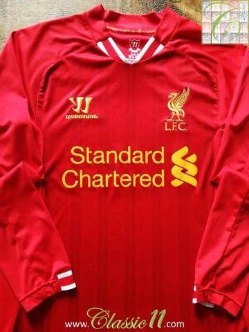 d09bb6519 Official Warrior Liverpool home long sleeve football shirt from the  2013 2014 season.