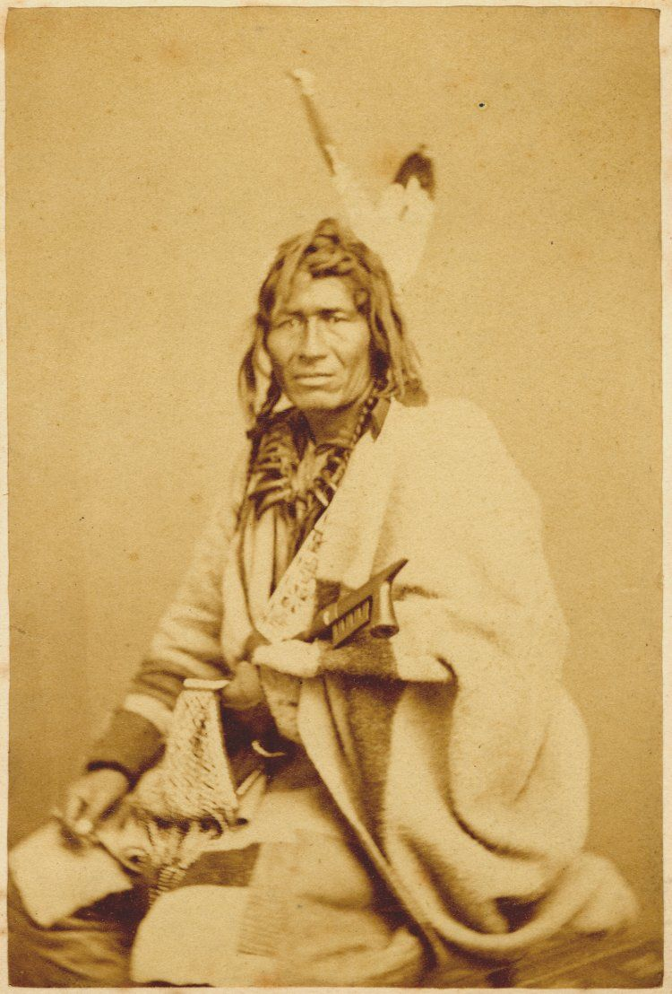 Portrait Of A Chippewa Man Sitting Wearing Feathered Head Gear Bear Claws Necklace Blanket Wrap And Holding Pipe Albumen Print Carte De Visite