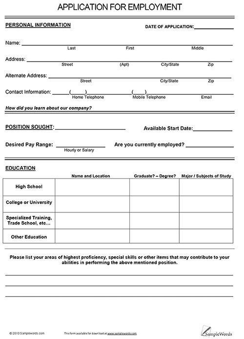 free job application form Google Search Employment