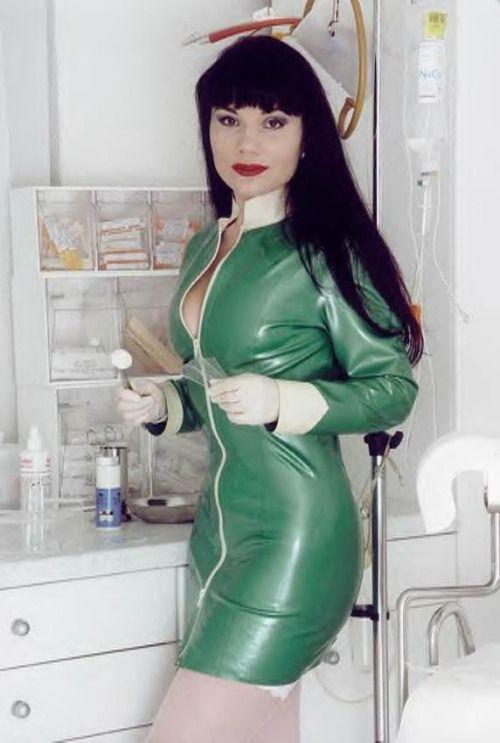 Female doctor in latex gloves