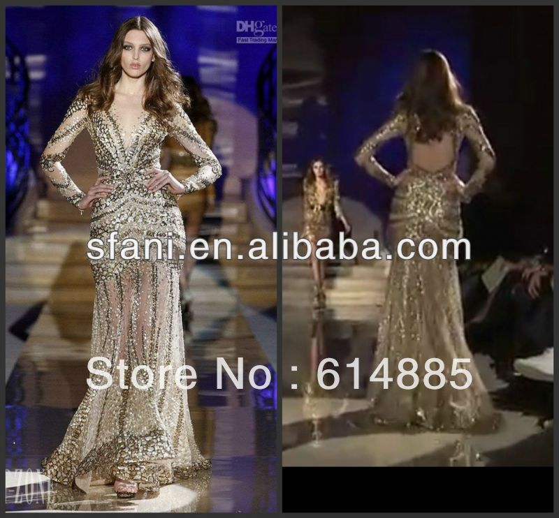 NET-01 New Arrival Sexy Luxurious Long Sleeve V-neck Diamond Swarovski Crystal Zuhair Murad Evening Dresses 2012 US $348.00