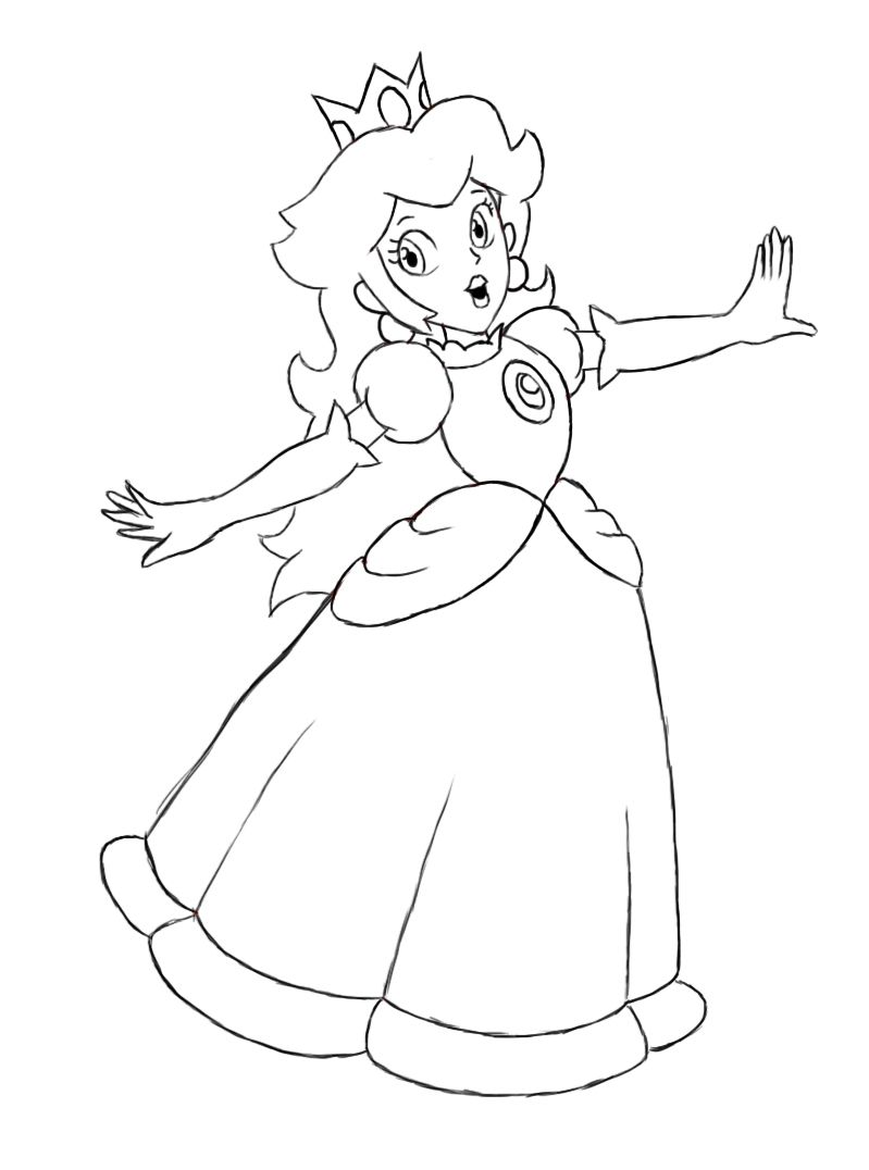 how to draw princess peach princess peach drawings and paper