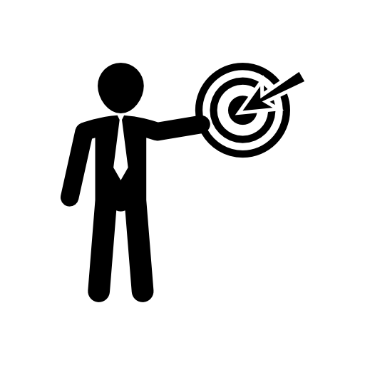 Businessman presenting a discussion with circular target symbol free icon