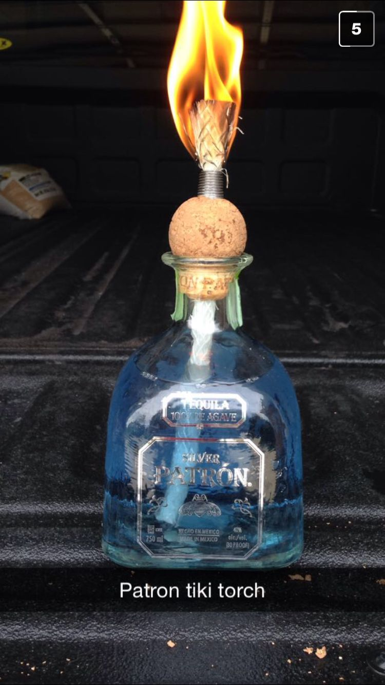 Tiki Torch made out of empty Patron Bottle.