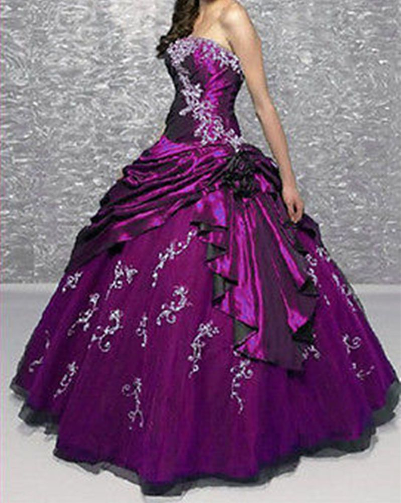 Purple taffeta a line prom dress quinceanera pageant formal gowns