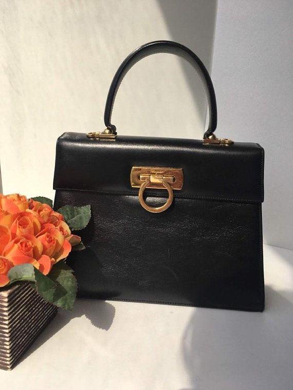 4549acefae70 Authentic Vintage Salvatore Ferragamo Bag Handbag Purse Kelly Bag Gancini  Handbag Top Handle Bag