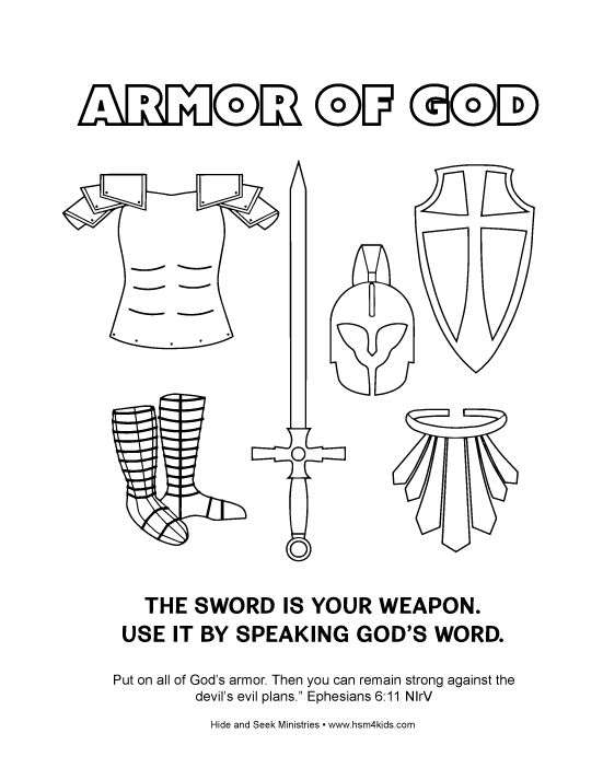 Free Armor of God Coloring Bible Activity Worksheet. Easy to ...