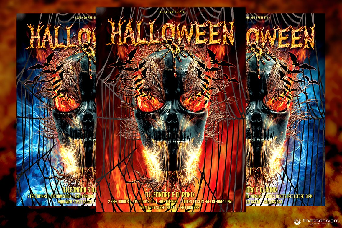 Halloween Flyer Template PSD V15 Customizable with